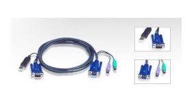 ATEN 2L-5503UP :: KVM кабел, HD15 F + 2x PS2 M >> HD15 M + USB type A M, 3.0 м