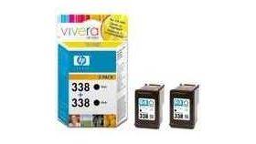 HP 338 Black Inkjet Print Cartridge 2-pack with Vivera Ink (2xC8765EE)